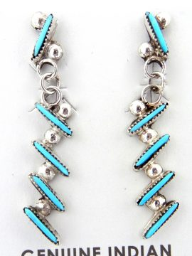 Zuni Small Turquoise Needlepoint and Sterling Silver Earrings