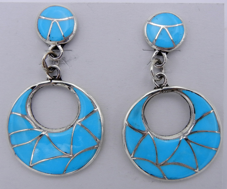 Sleeping Beauty turquoise and sterling silver inlay Zuni dangle earrings