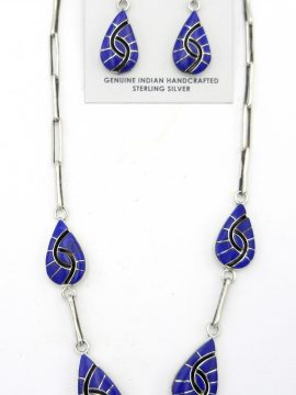 Zuni Amy Quandelacy Lapis and Sterling Silver Hummingbird Pattern Necklace and Earring Set