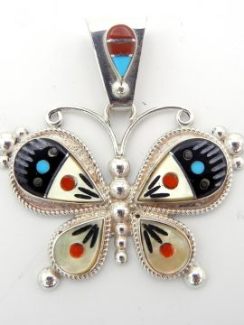 Zuni Leagus Ahiyite Multi-Stone Inlay and Sterling Silver Butterfly Pendant