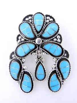 Zuni Susie Lowsayatee Sleeping Beauty Turquoise and Sterling Silver Inlay Naja Pendant