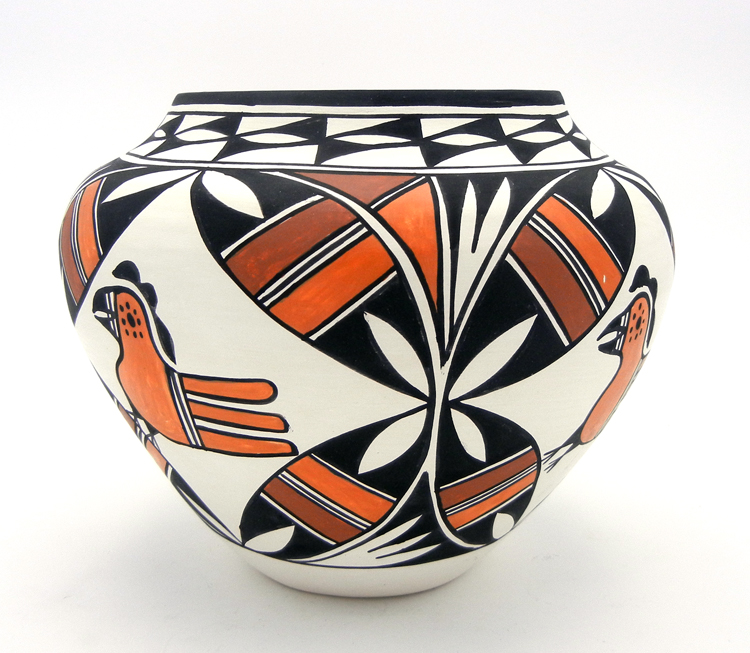 Acoma parrot and weather pattern jar by Beverly Garcia