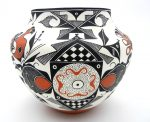 Acoma parrot and fertility design jar by Franklin Peters