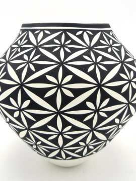 Acoma Kathy Victorino Small Floral Design Black and White Jar