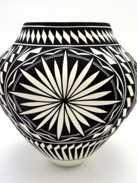 Acoma Kathy Victorino Black and White Multi-Design Jar
