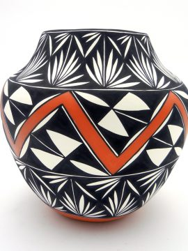 Acoma Manuel Stevens Polychrome Jar with Geometric Designs