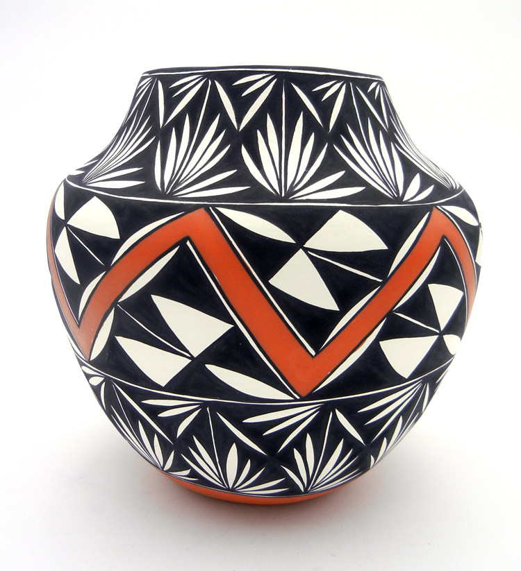 Polychrome jar with geometric designs by Acoma potter Manuel Stevens