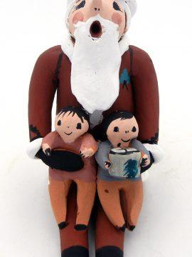 Jemez Joyce Lucero Santa Storyteller with Two Children