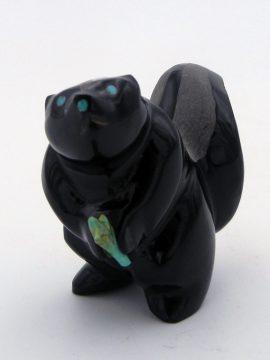 Zuni Enrike Leekya Black Marble Skunk Fetish