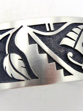 Hopi Sterling Silver Overlay Butterfly and Hummingbird Cuff Bracelet