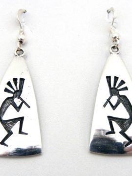 Hopi Sterling Silver Overlay Kokopelli Earrings