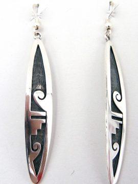 Hopi Sterling Silver Overlay Dangle Earrings
