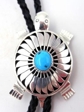 Navajo Bennie Ration Sterling Silver and Turquoise Shadowbox Turtle Bolo Tie