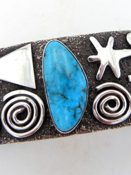 Navajo Alex Sanchez Sterling Silver and Turquoise Petroglyph Style Cuff Bracelet