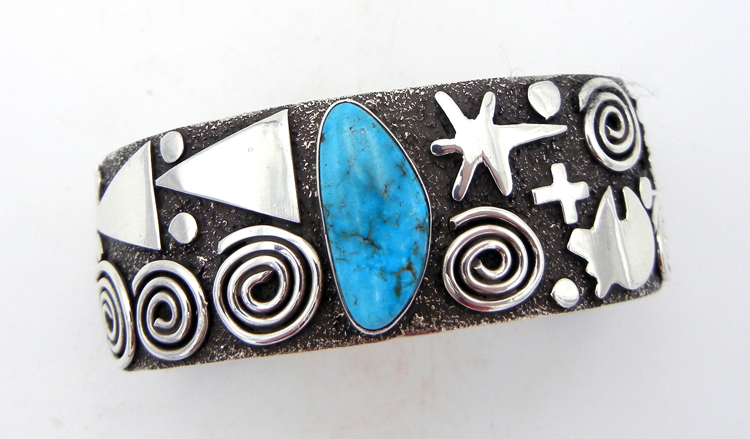 Navajo sterling silver and turquoise cuff bracelet by Alex Sanchez
