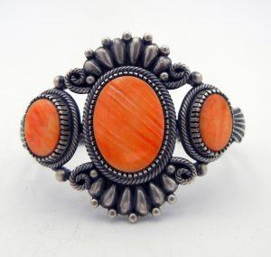 Navajo Orange Spiny Oyster and Brushed Sterling Silver Cuff Bracelet