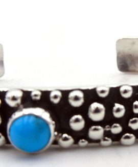 "Navajo Raymond Coriz ""Million Dollar Drop"" Collection Sterling Silver and Turquoise Cuff Bracelet"