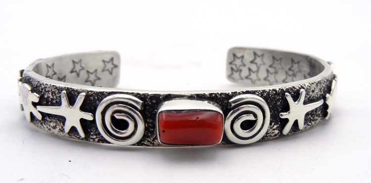 Navajo Alex Sanchez coral and sterling silver petroglyph style cuff bracelet