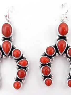 Navajo Mediterranean Coral and Sterling Silver Naja Earrings