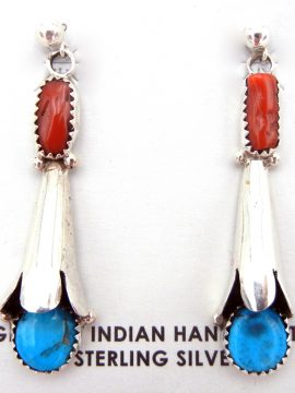 Navajo Turquoise, Coral, and Sterling Silver Squash Blossom Earrings