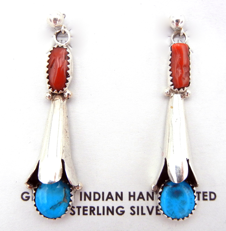 Navajo Turquoise, Coral and Sterling Silver Squash Blossom Earrings