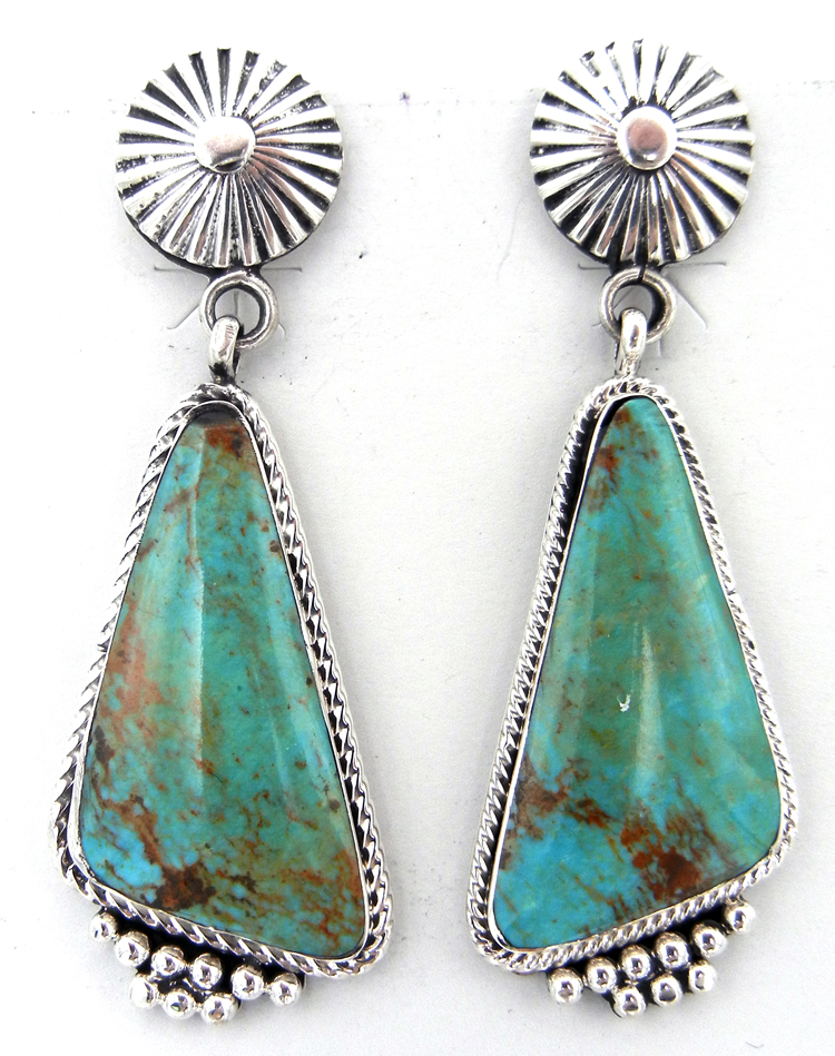 Navajo Kingman Turquoise and Sterling Silver Dangle Earrings