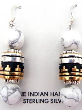Navajo Rosita Singer Howlite, Sterling Silver, and Gold Fill Overlay Earrings