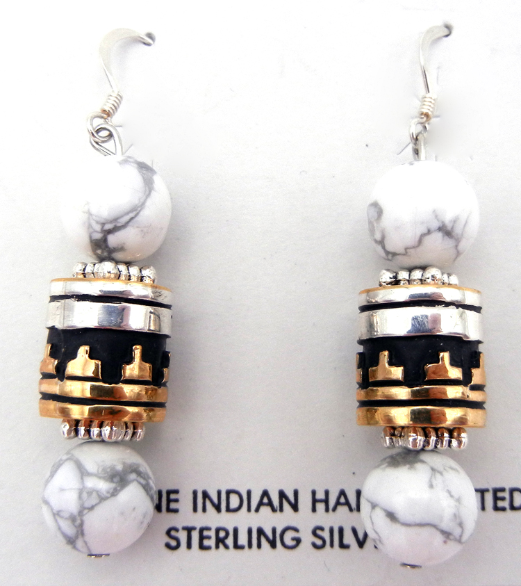 Howlite, sterling silver and gold fill overlay earrings by Navajo silversmith Rosita Singer