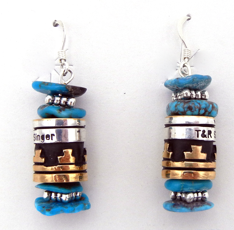 Turquoise, sterling silver and gold fill dangle earrings by Navajo silversmith Rosita Singer