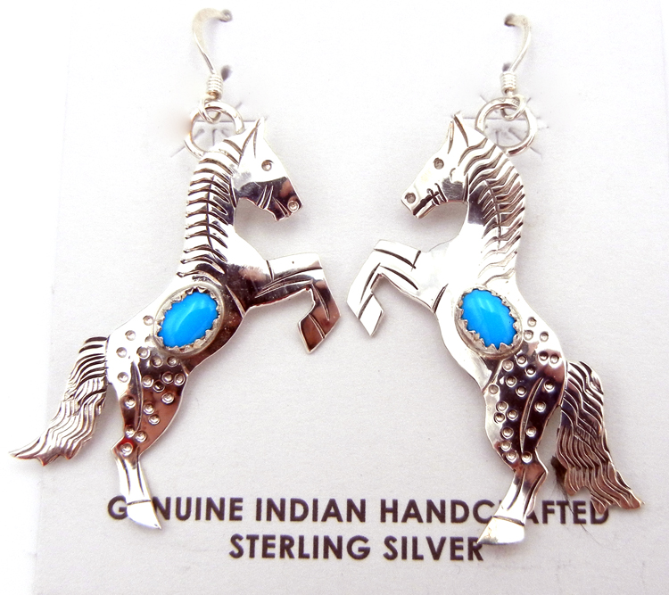 Navajo Sterling Silver and Turquoise Horse Earrings