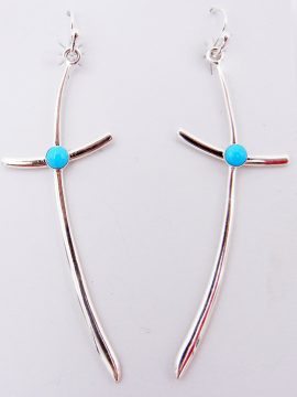 Navajo Sterling Silver and Turquoise Elongated Cross Earrings