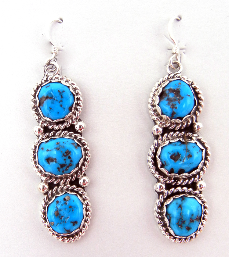 Navajo Triple Turquoise Nugget and Sterling Silver Dangle Earrings