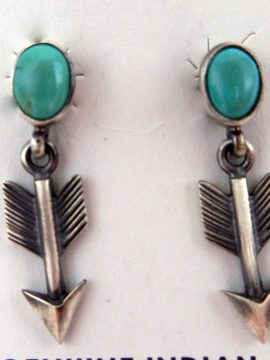 Navajo Small Turquoise and Sterling Silver Arrow Earrings