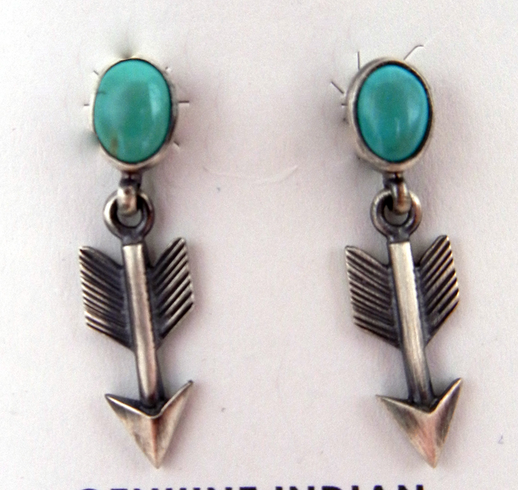 Small Navajo brushed sterling silver and turquoise arrow earrings