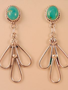 Navajo Turquoise and Sterling Silver Dangle Earrings