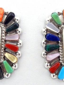 Zuni Vera Halusewa Multi-Stone and Sterling Silver Earrings