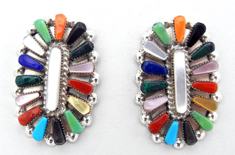 Zuni multi-stone and sterling silver rosette pattern earrings by Vera Halusewa