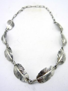 Navajo Ben Begay Sterling Silver Feather Choker Necklace