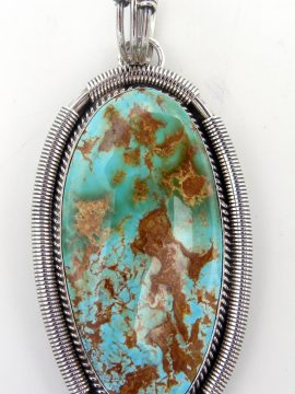 Navajo Large Royston Turquoise and Sterling Silver Pendant
