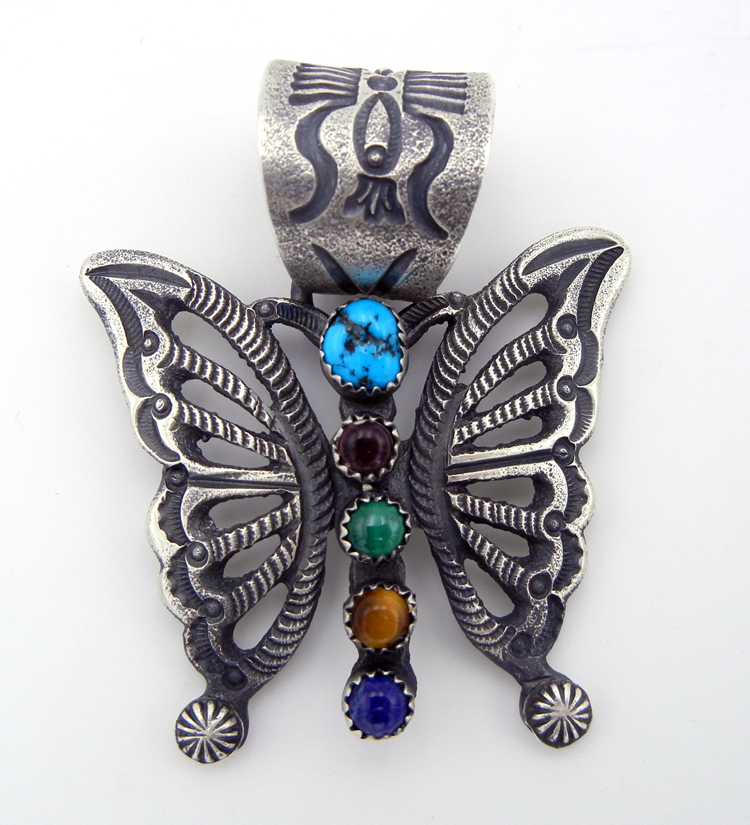 Navajo Linberg and Eva Billah Sandcast Sterling Silver and Multi-Stone Butterfly Pendant