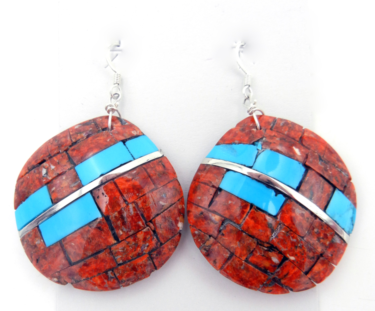 Santo Domingo Apple Coral and Turquoise Inlay Shell and Stone Earrings