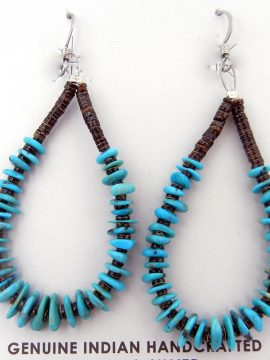 Santo Domingo Jeanette Calabaza Turquoise and Olive Shell Heishi Loops