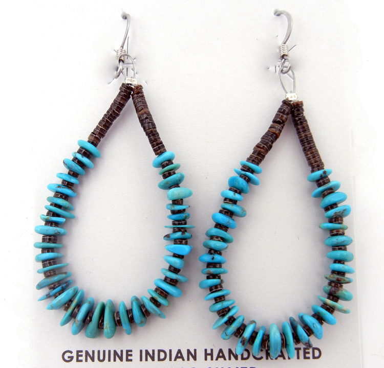 Santo Domingo turquoise and olive shell heishi loop earrings by Jeanette Calabaza