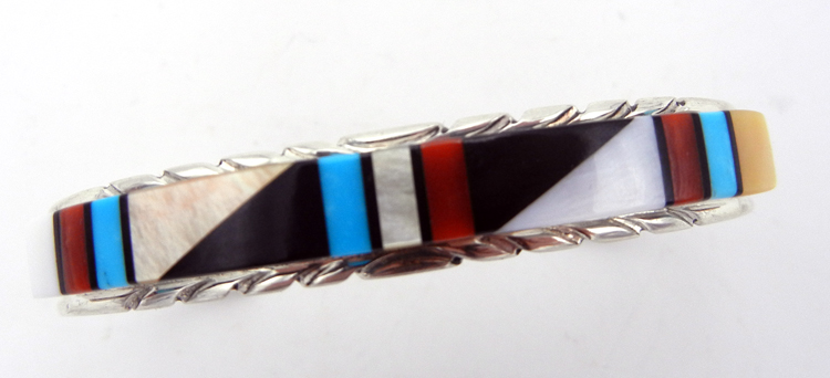 Zuni Multi-Stone Inlay and Sterling Silver Cuff Bracelet