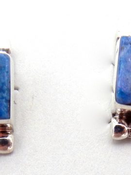 Zuni Denim Lapis and Sterling Silver Inlay Earrings