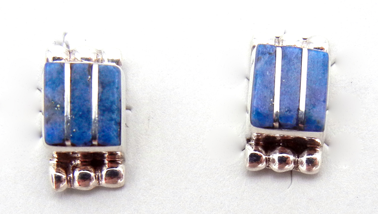 Zuni denim lapis and sterling silver inlay post earrings