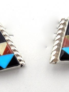 Zuni Small Multi-Stone Inlay Earrings