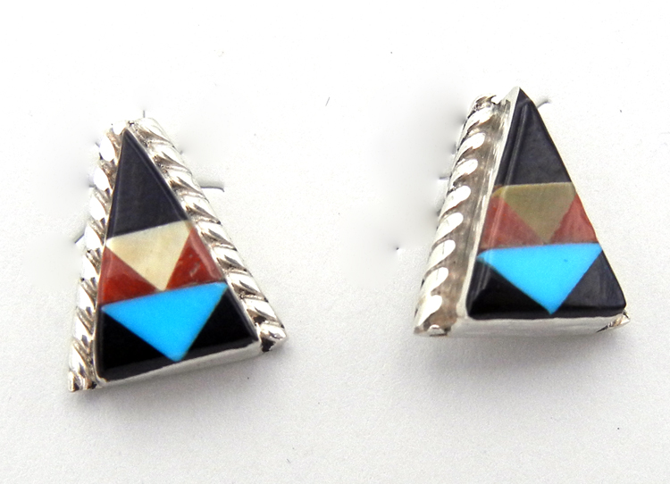 Zuni multi-stone inlay and sterling silver triangle post earrings