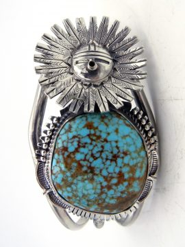 Navajo Bennie Ration Turquoise and Sterling Silver Sunface Cuff Bracelet
