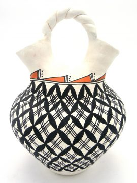 Acoma Beverly Garcia Large Handmade and Painted Wedding Vase with Twisted Handle